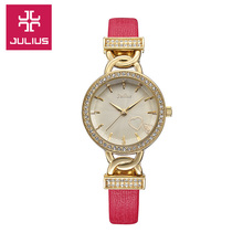 Julius New Lady Woman Wrist Watch Quartz Hours Best Fashion Dress Heart Bracelet Leather Rhinestone Girl
