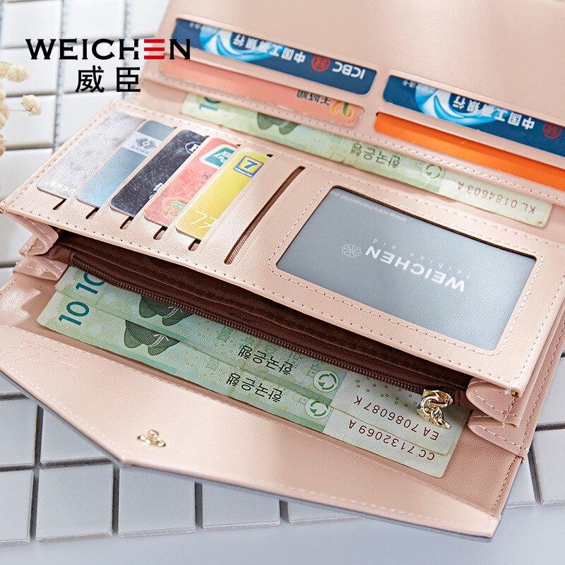 WEICHEN HOT géométrique enveloppe portefeuille femmes marque Designer femme portefeuille porte-carte téléphone monnaie poche dames sac à main de haute qualité 2