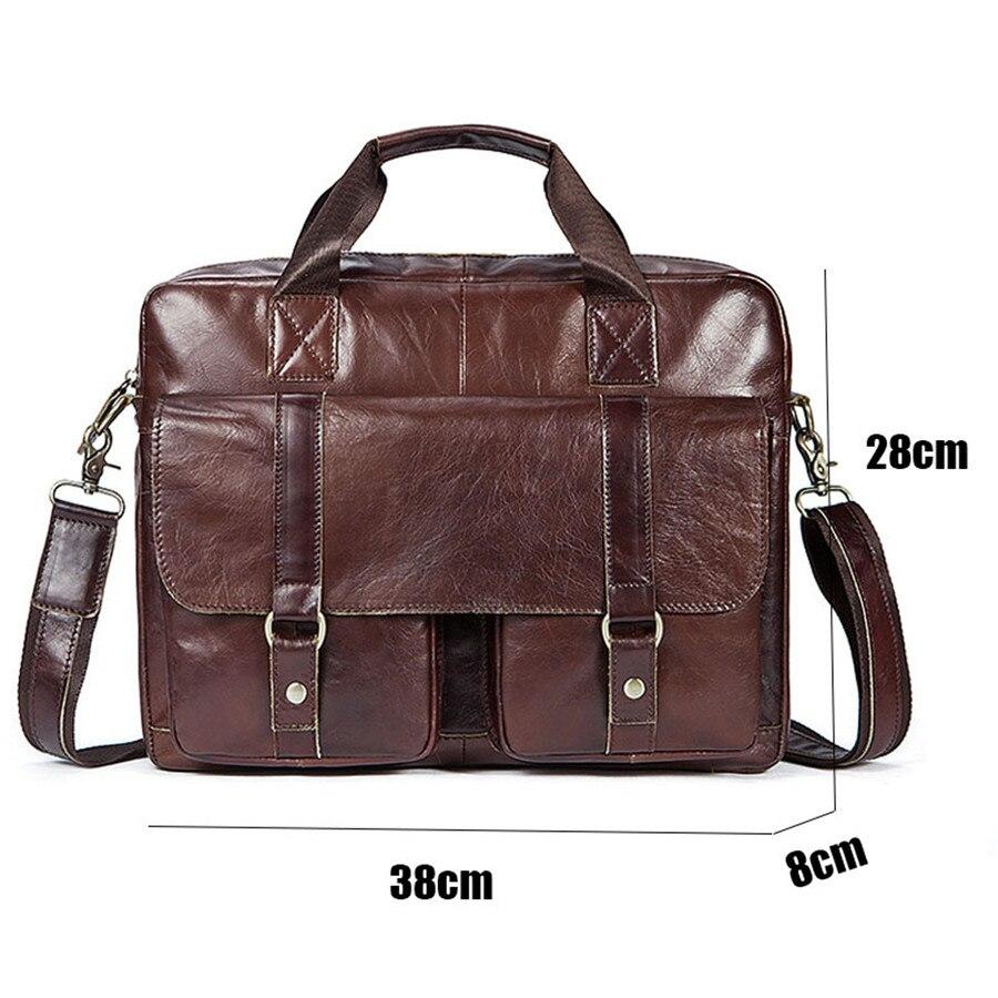 9e5a6feb1db1 2019 Men Genuine Leather Vintage Briefcases Laptop Bag Business Men ...
