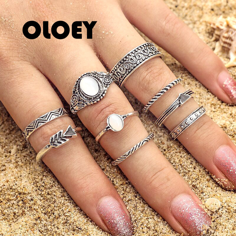 2018 OLOEY New Protein Crystal Fish Bone Vintage Geometric Arrow Finger Ring Charm Unique Knuckle Rings Jewelry Accessories