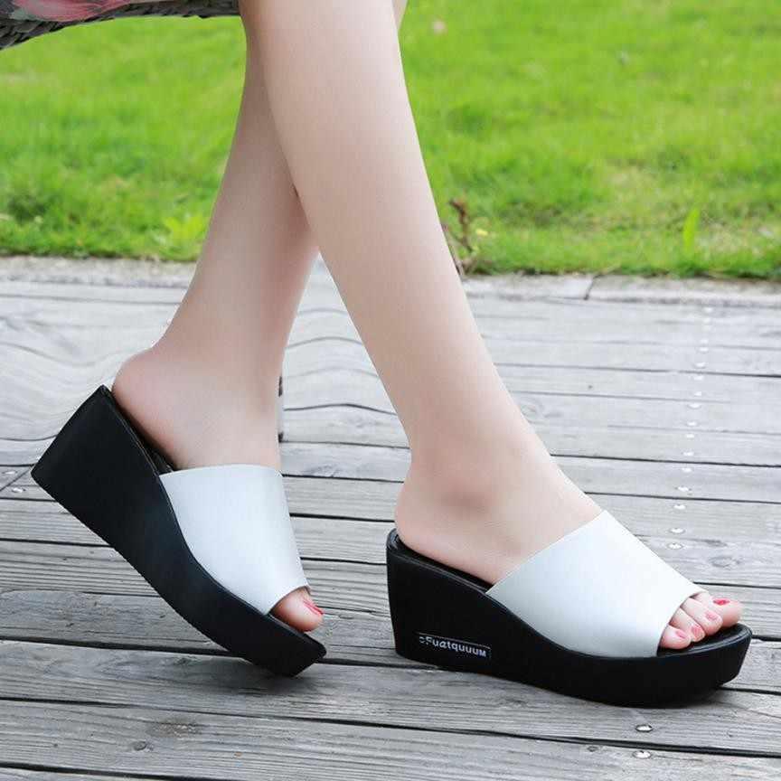 f06b0d011f38 ... Summer Woman Shoes Fish mouth Platform slippers Wedge Beach Flip Flops  High Heel Slippers For Women ...