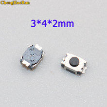 цена на ChengHaoRan 50pcs 3*4*2.0 2P button two foot feet 2 pin SMD patch tact switch vertical push-button switch micro 3 * 4 * 2 mm