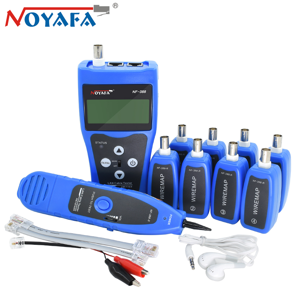 NOYAFA NF-388 Remote Finder Cable Locator Tester Wire Tracker Tracer Lcd RJ45 RJ11 BNC USB Telephone Toner Network Tool Kit Blue noyafa professional nf 806 network wire tracker telephone wire finder portable handheld rj45 rj11 lan cable testing tool