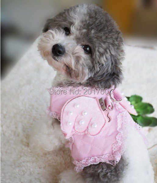 Pet Pink/White Angel wings Harness with Leashes dog harness SIZE: S M L Free Shipping