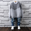 Casual O-Neck Baby Boys Patchwork Autumn Winter Long Cardigan Mixed Material Hedging Pullover kids Clothes Christmas Sweaters