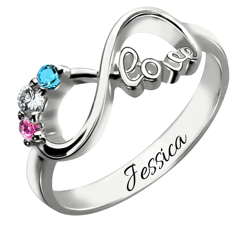 personalized mother 39 s sterling silver birthstone infinity