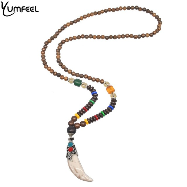 674f079c40875 US $3.99 20% OFF|Yumfeel New Nepal Buddhist Mala Wood Beads Horn Necklaces  Vintage Pendant Men Necklace Gifts-in Pendant Necklaces from Jewelry & ...