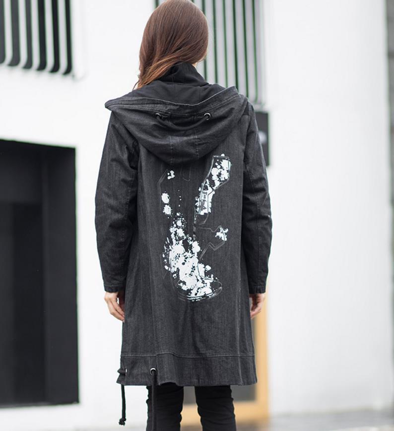 Taille Glissière Femmes Capuche Trench Imprimer Grande Noir À Streetwear Tuhao Épais Vintage Poche Hiver Denim Manteau Rg02 Graffiti Lâche Lady WRcq86ag