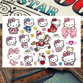 Cute kids 3D Pink CAT Child Temporary Body Art Flash Tattoo Sticker 17*10cm Waterproof painless tattoo Free shipping