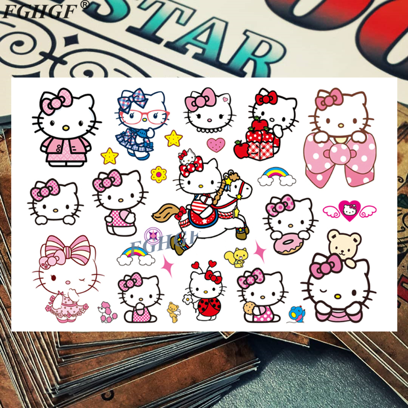 Cute kids 3D Pink CAT Child Temporary Body Art Flash Tattoo Sticker 17*10cm Waterproof painless tattoo Free shipping