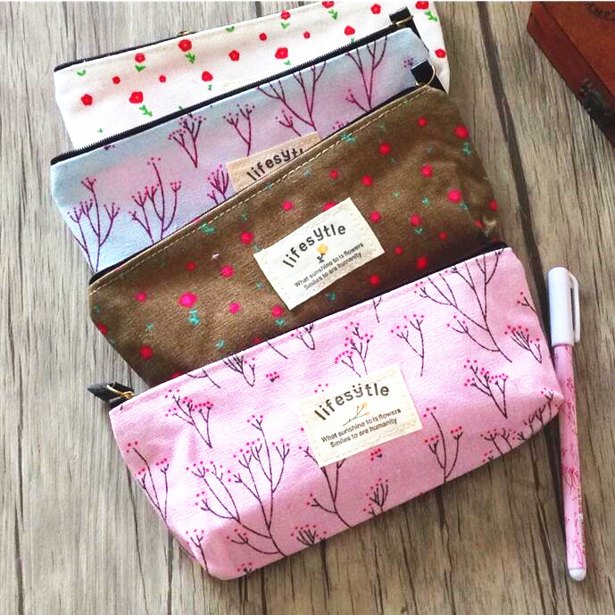 1pcs/lot Fresh Floral Flowers Canvas Zipper bags Pencil Cases Lovely Fabric Bags Stationery Storage Organizer Case School Supply