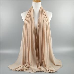 Image 5 - Hot 15PCS/LOT Very Good Quality Plain Bubble Chiffon Scarf Muslim Hijab Girl Headwear Wraps Solid Color Shawls Scarves