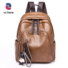 Купить с кэшбэком New 2019 Women Casual Travel Bags Simple School Backpack For Teenager Girls Female Daypacks Fashion Soft Leather Bag Rucksack