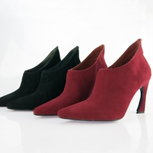 Fashion women's shoes brief fashion scrub sexy genuine leather pointed toe ankle boots