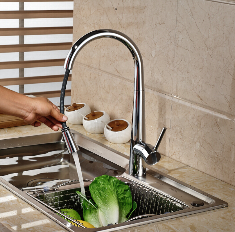 ФОТО Chrome Brass Pull Out Kitchen Faucet Single Handle Hole Vessel Sink Mixer Tap Single Handle Hole