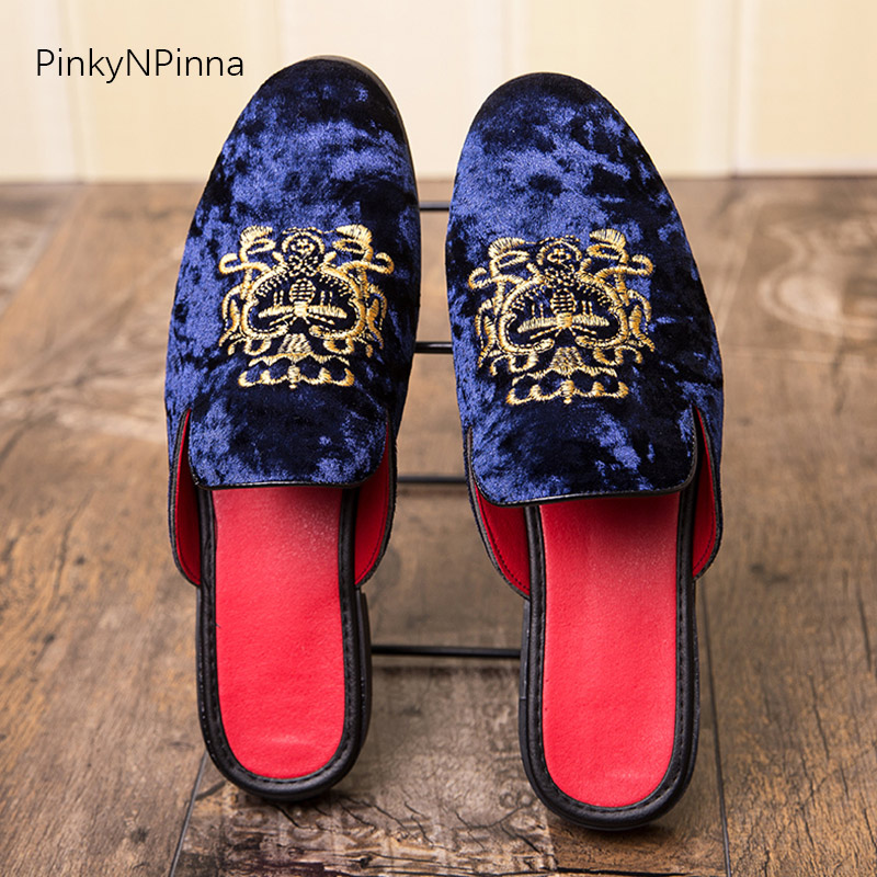 Image 5 - Luxury royal style men mules slippers velvet handmade embroidery bee pattern exotic designer loafers fashion brand casual shoes-in Men's Casual Shoes from Shoes