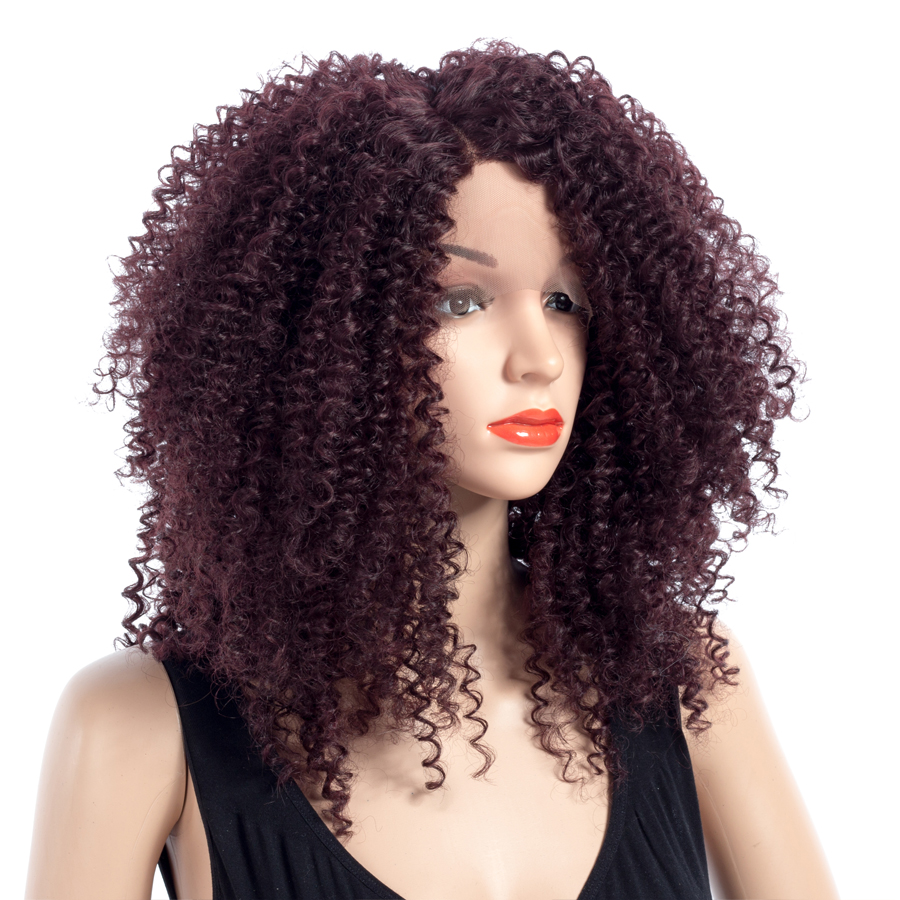 ELEGANT MUSES 18 Medium Wigs Heat Resistant Synthetic Lace Front Curly Wigs For Women African American Ladies Girls ...