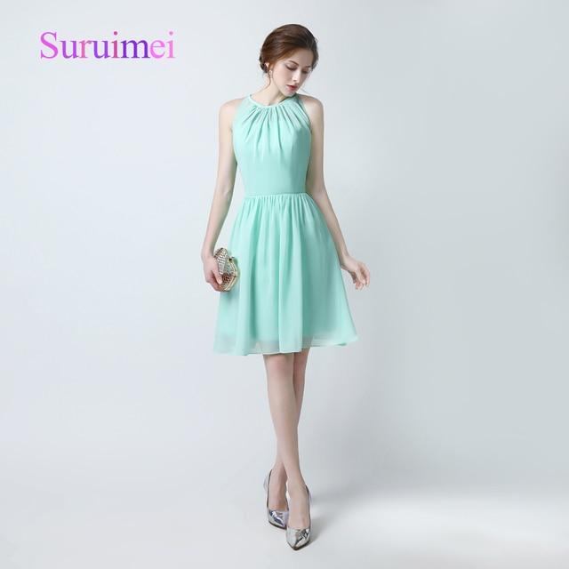 Real picture Green Prom Dresses Vestidos Festa Knee Length Formatura ...