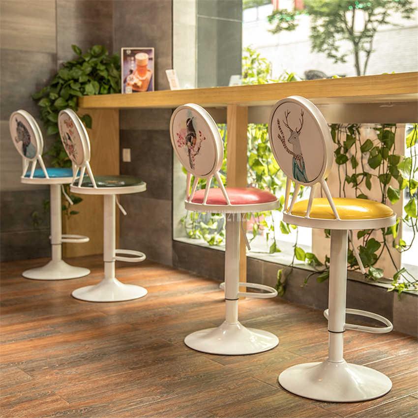 Античный Европейский стиль 60-80 см регулируемый по высоте вращающийся барный стул, табурет железное искусство мягкая подушка высокий табурет вращающаяся спинка