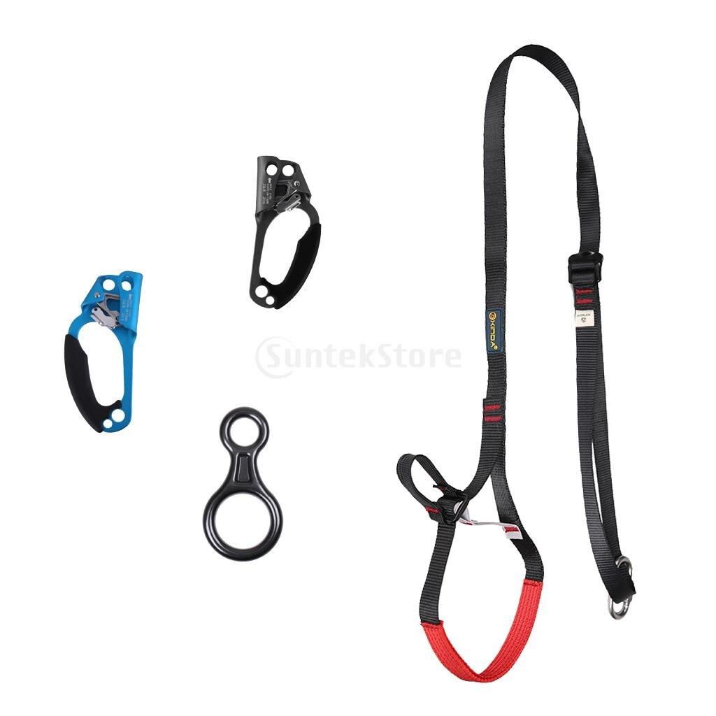 Outdoor Rock Climbing 80-133cm Adjustable Sling Ascender + Right & Left Hand Ascender + 35KN Figure 8 Descender Belay Device цена