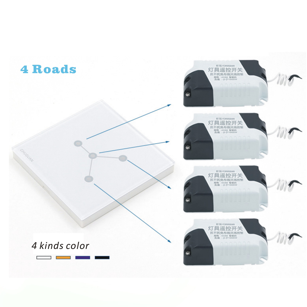 Free shipping 3M stickers Wireless touch switch 4 Gang 4 Way Smart Home 220v Home Light Switch long remote control Wall Switch