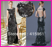 2014 Sexy Black Cap Sleeve Backless Sequins Column Women Formal Evening Dresses Gowns E4583