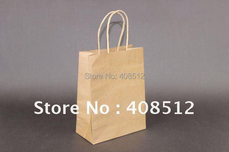 500 шт 21x16x8 см поворотная ручка коричневый kraft хозяйственная Подарочная сумка печати для промоупаковка