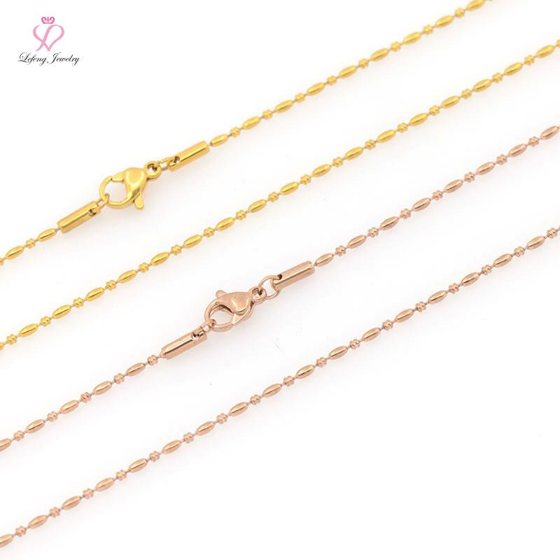 High Quality 1.5mm width 18 inch IP Black/ Gold / Rose Gold/ Silver Stainless steel Rice&Ball chain necklace for floating locket