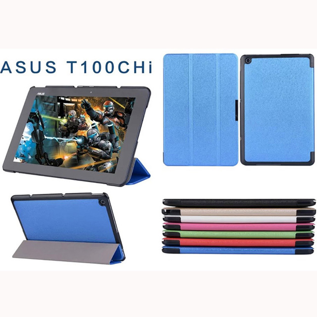 Luxury Ultra Slim Magnetic Folio Stand Flip Silk Print Pattern Leather Case Cover For ASUS Transformer Book T100 Chi T100chi