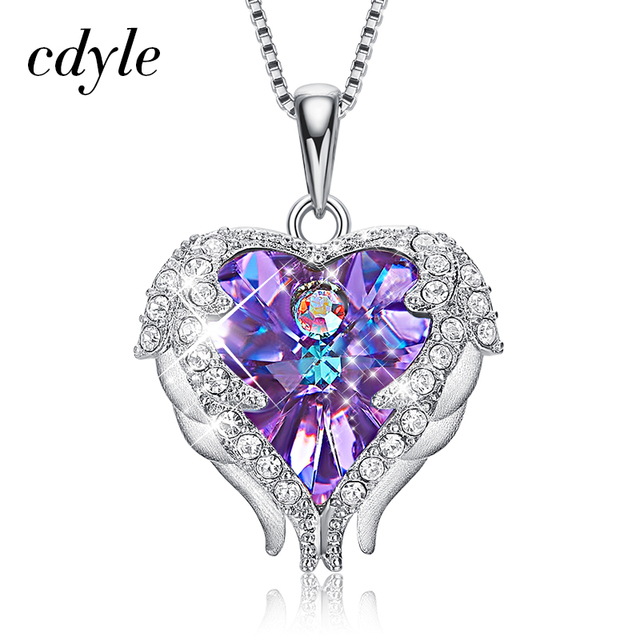Cdyle Real 925 Sterling Silver Angel Necklace Embellished with crystals from Swarovski Pendant For Women Heart Wings Pendant