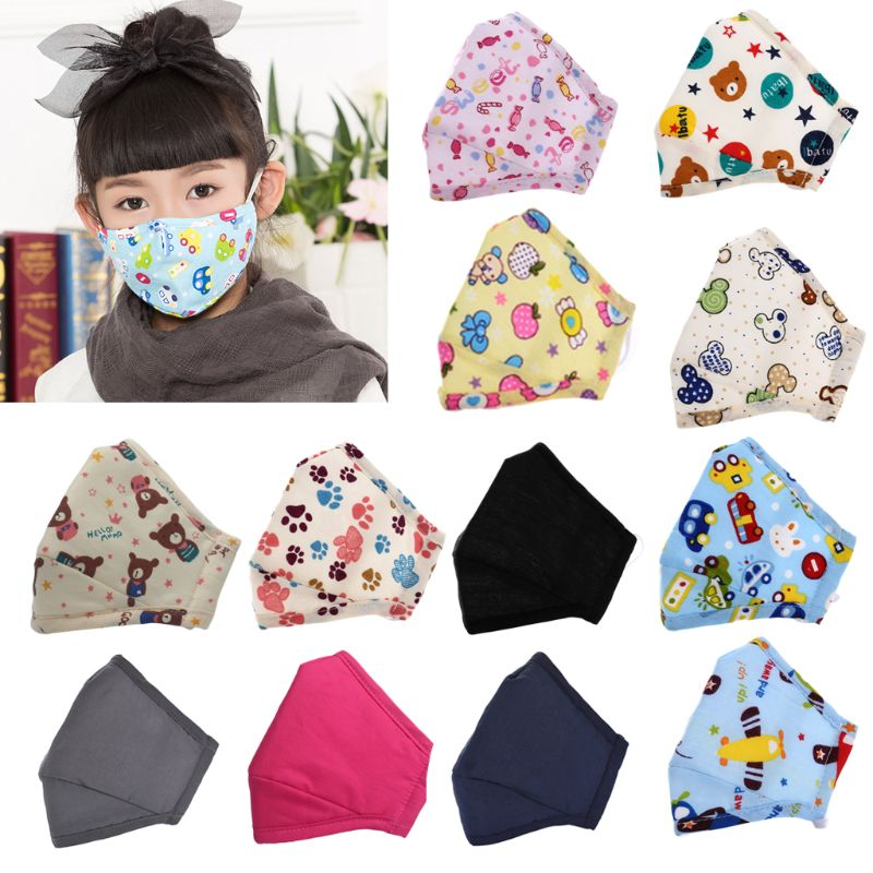 3-12T Children Kids Cotton Mouth Mask Cartoon Vehicle Candy Animal Printed Anti Pollution Respirator With Replaceable Filters