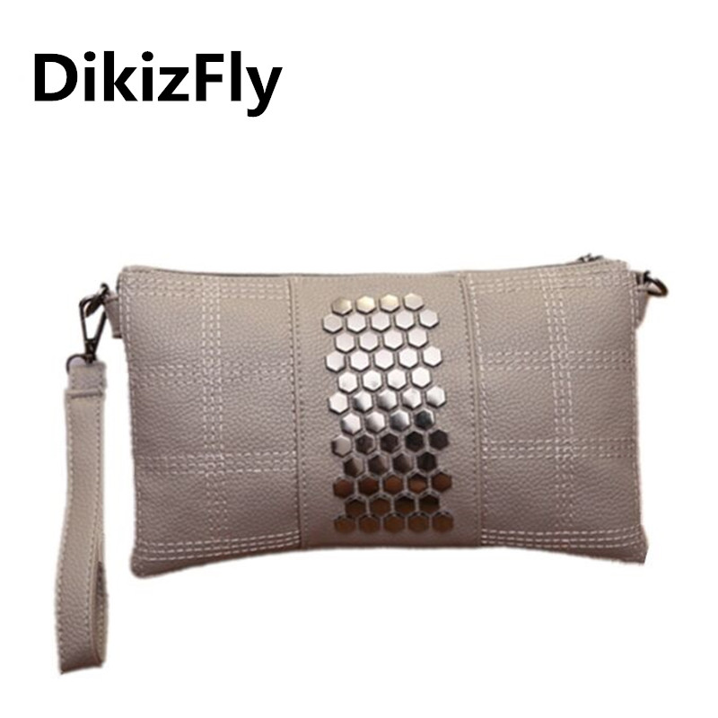 DikizFly Brand Leather Bags Day Clutches Women Shoulder Bag Evening Clutch Wallet Purse Female Rivet Messenger Bag Wristlets маленькая сумочка women bag atrra yo women bags for women messenger bags ladies clutch shoulder bag wallet