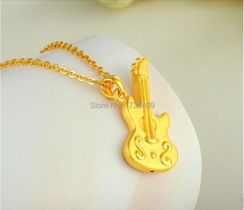 Authentique 999 24 k or jaune pendentif 3D guitare pendentif 2.20g