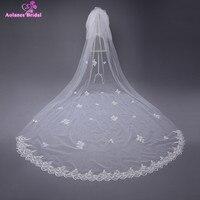 AOLANES Velos de Noiva 3 Meters Lace Edge Ivory Wedding Veils Sequins Bridal Veils Appliques Wedding Accessories Voile Mariage