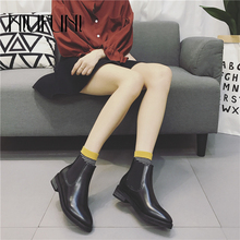 NIUFUNI New Pointed Toe Women Chelsea Boots Ankle Fashion Leather Quality Slip Ons Low Heel Solid Warm Sleeve Shoes