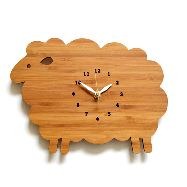 Creative Cute Cartoon Wooden Wall Clock Simple Modern Design Kids