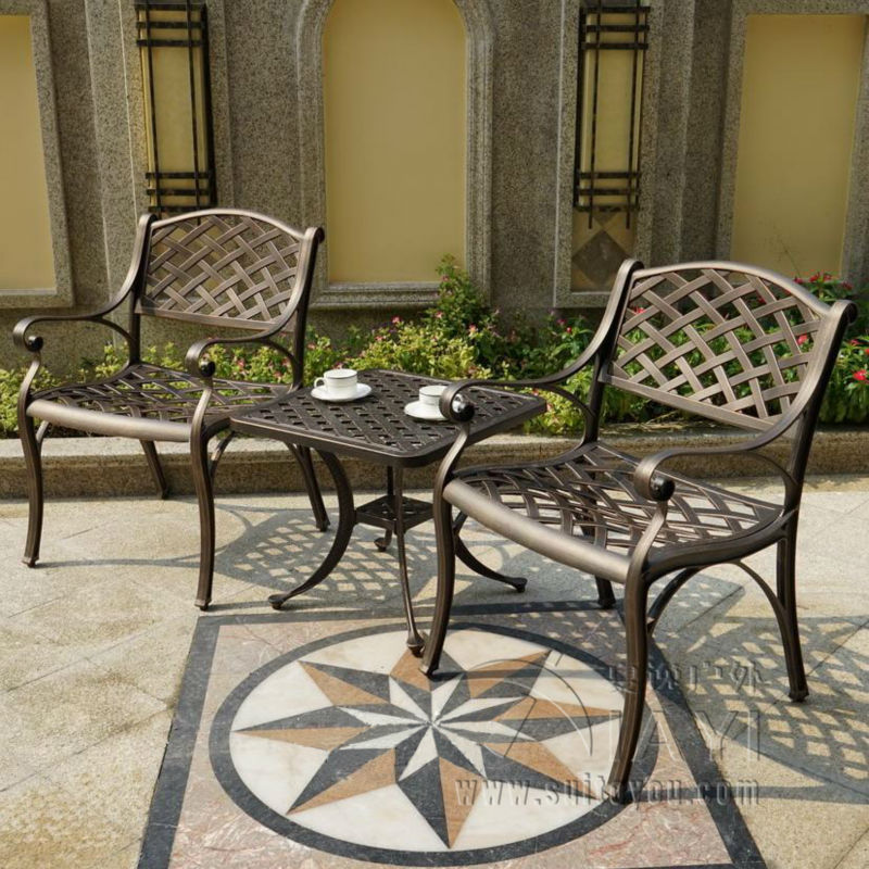 3 piece cast aluminum weather risistant outdoor chair and table garden furniture for house decor