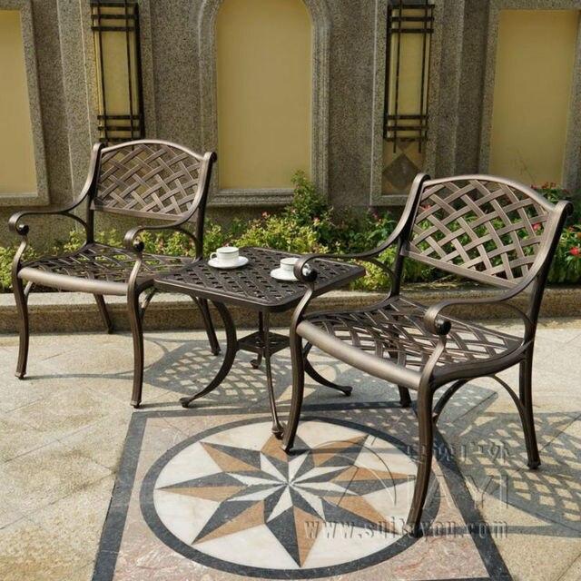 3 piece cast alüminyum hava dayanıklı açık sandalye ve masa bahçe mobilyaları ev dekor için