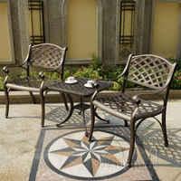 3 ชิ้นอลูมิเนียมหล่อสภาพอากาศกล่องใส่สำหรับกลางแจ้งเก้าอี้และตารางสวนเฟอร์นิเจอร์สำหรับตกแต่งบ้าน