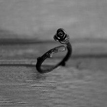 1 anillo de plata rosa, estilo Retro de rama de flor de Rosa Negra con espinas anillos de plantas de plata mujeres chicas Alibaba-express