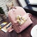 Famous Design Women PU Leather Bear Pendant Backpack Student School Book Bags For Teenager Girl Travel Rucksacks mochila escolar