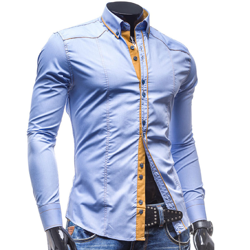 2016 new brand spring shirt for men luxury stylish mens for Expensive mens dress shirts brands