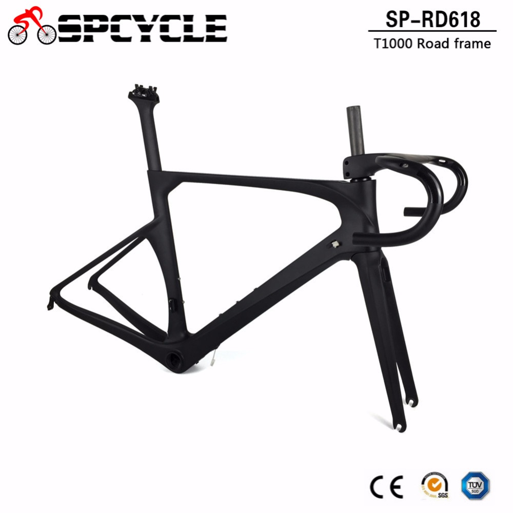 Spcycle New Carbon Fiber Road Bike Frames With Intergrated Handlebar Direct Mount Brake Aero Racing Bicycle Carbon Framesets
