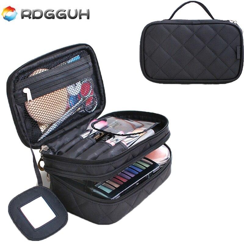 все цены на RDGGUH Women Travel Makeup Bag High Quality Professional Organizer Make up Brush Box Cosmetic Bag Large Capacity Storage Pouch онлайн