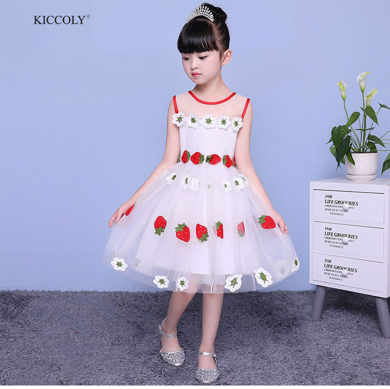 KICCOLY Girls Dresses 2018 New Brand Princess Kids Clothes Strawberry Sleeveless White Tulle Party Dress Girls Clothes For 2 10T