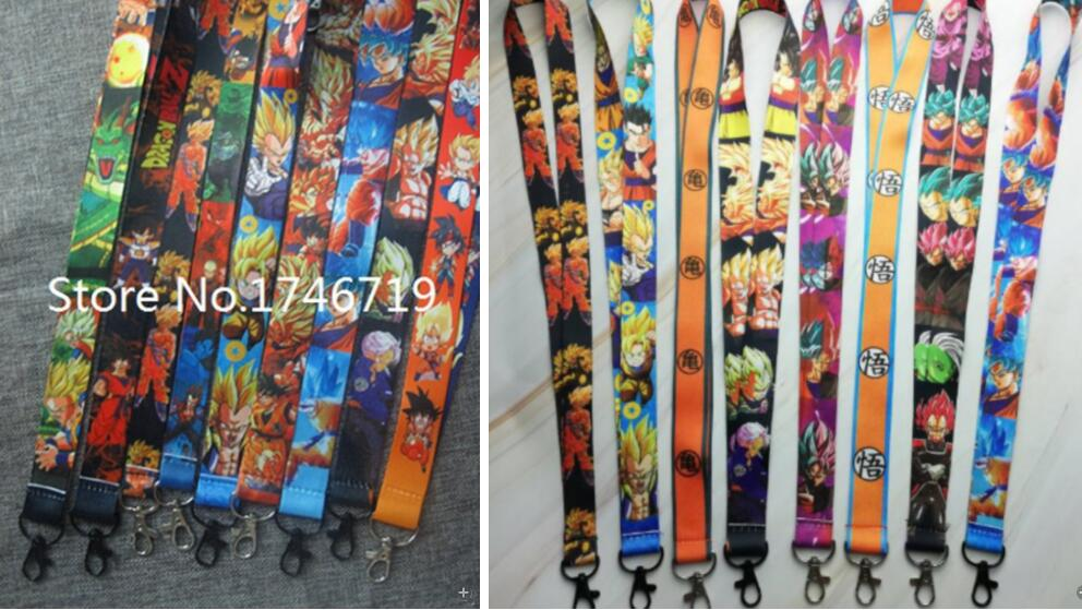 Hot Selling 50 pcs Japanese anime Dragon Ball Z Goku <font><b>Sayajins</b></font> Master R Key Chains Neck Strap Keys Lanyard D-104 image