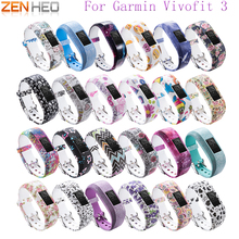 цена на Watch band For Garmin Vivofit 3 Silicone Flowers Replacement Wrist Band Strap Metal Buckle For Garmin Vivofit 3 Bracelet Strap