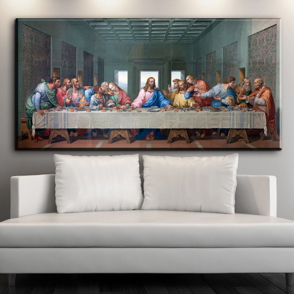 ZZ1604 Large Famous Print Canvas Painting The Last Supper Leonardo Da Vinci Wall Pictures For Living Room kitchen Room Unframed
