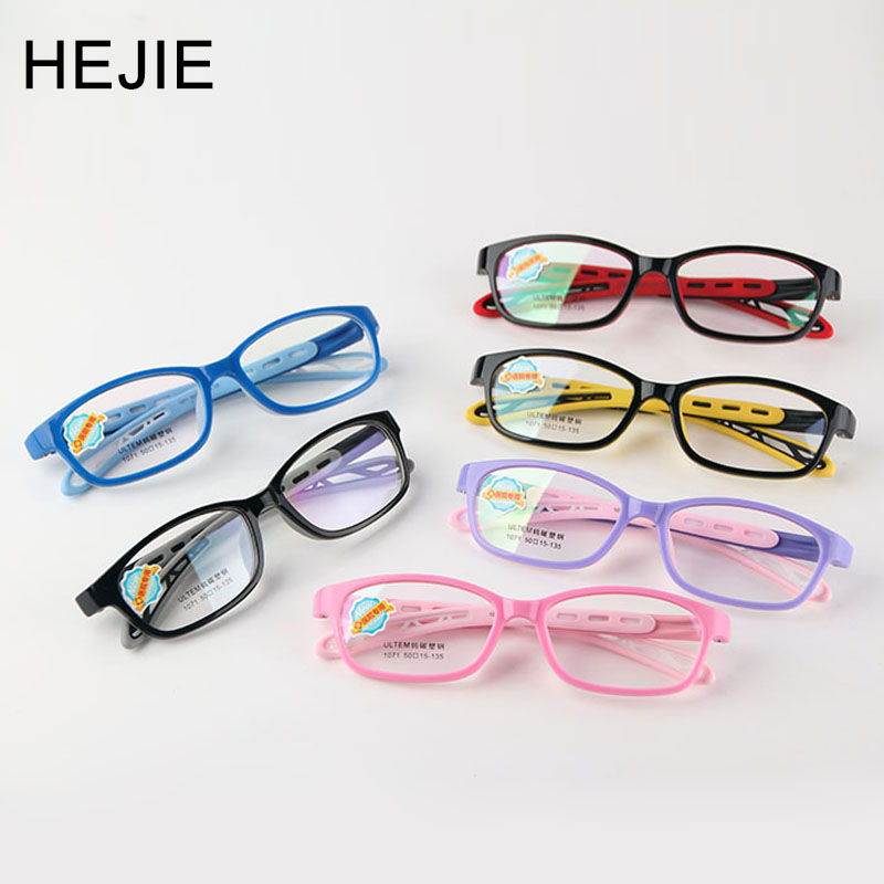 HEJIE Kids Safe Silicone&ULTEM Eyeglasses Frames Boys Girls Children Myopia Optical Frame With Chain Size 50-15-135mm 1071