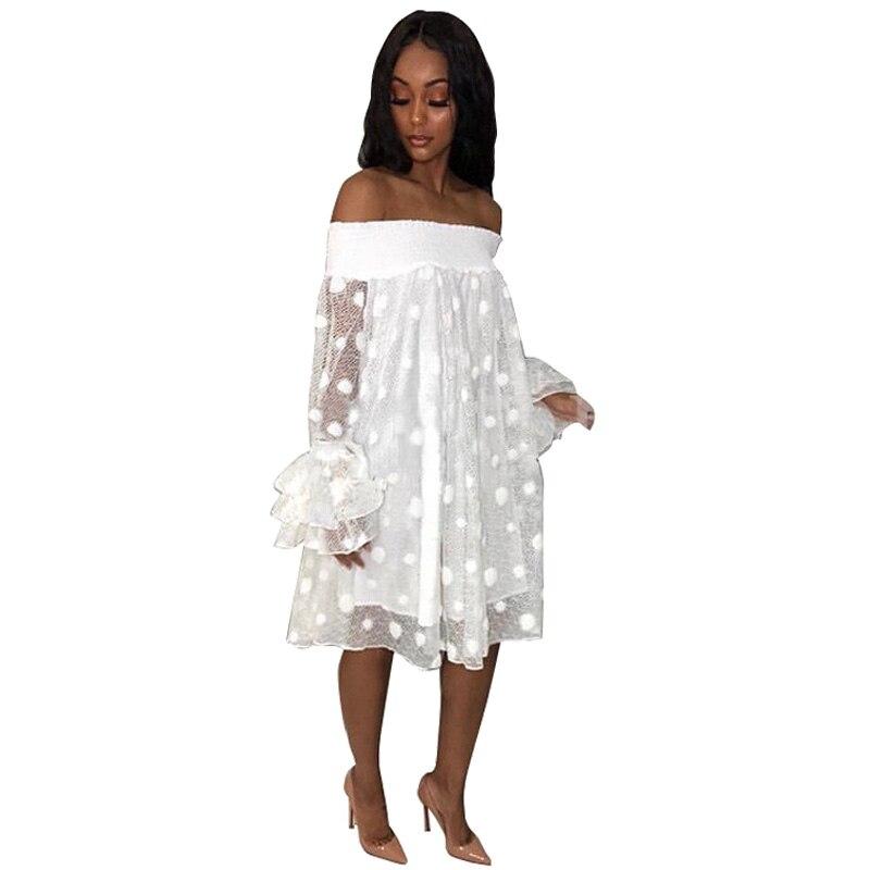 Polka Dot White Lace Dress Women Streetwear Casual Summer